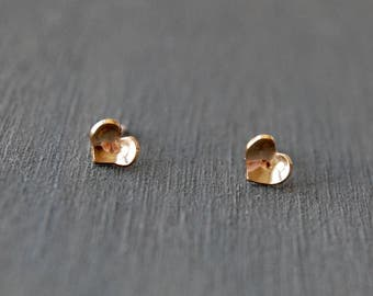 Heart Studs, Tiny Heart Studs, Gold Hearts, Tiny Studs, Valentine's Day, Gift, Love, Gold Studs, Simple Heart Studs, Gold Hearts