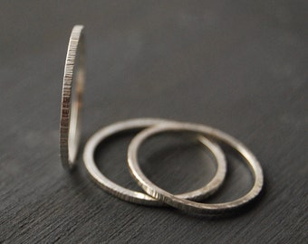 Sterling Silver Stacking Rings, Small Stacking Rings, Birch Bark Stacking Rings, Stacking Rings, Argentium Silver Rings, Simple Rings