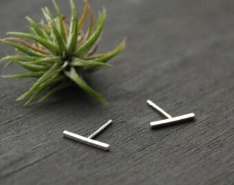 Silver Bar Earrings, Tiny Bar Earrings, Bar Earrings, Bar Studs, Tiny Bar Studs, Silver Bar Studs,