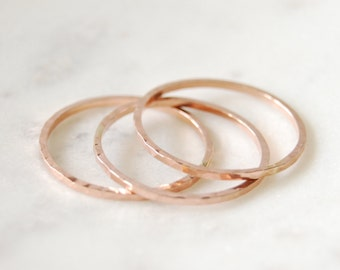 Rose Gold Filled Stacking Rings, Small Stacking Rings, Hammered Stacking Rings, Stacking Rings, Rose Gold Rings, Simple Rings