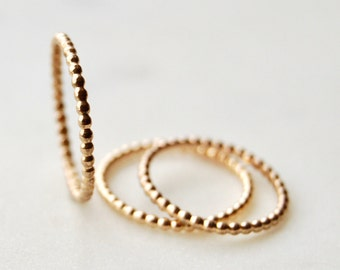 Gold Beaded Stacking Rings, Stacking Rings, Gold Filled Stacking Rings, Bead Rings, Small Rings, Layering Rings, Gold Filled
