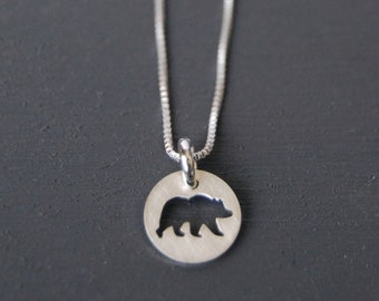 Bear Pendant, Grizzly Bear, Bear Necklace, Canadian Jewelry, Simple Pendent, Small Jewelry, Sterling Silver Necklace, Handcut