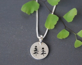 Sterling Silver Tree Pendant, Tree Necklace, Two Tree Pendant, Nature Jewelry, Spruce Tree Jewelry, Silver Pendant, Simple Jewelry