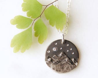 Starry Night Mountain Pendant, Moutain Pendant, Mountain Necklace, Canadian Jewelry, Star Necklace, One of a kind jewelry, Nature Jewelry