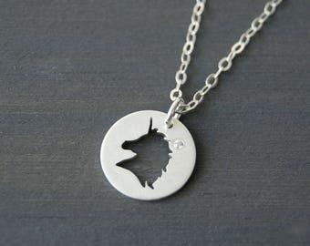 Unicorn Necklace, Unicorn Pendant, Silver Unicorn, Silver Necklace, Unicorn, Layering Necklace, Simple Necklace, Cutout Necklace