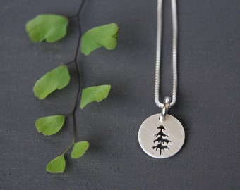 Sterling Silver Tree Pendant, Tree Necklace, Tree Pendant, Nature Jewelry, Spruce Tree Jewelry, Silver Pendant, Simple Jewelry