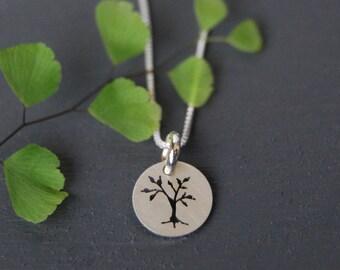 Sterling Silver Tree Pendant, Tree Pendant, Little Tree Pendant, Nature Jewelry, Ash Tree Jewelry, Silver Pendant, Simple Jewelry