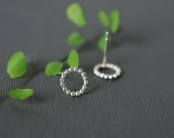 Dot Circle Earrings, Circle Earrings, Silver Circle Earrings, Flat Silver Circle Earrings, Circle Stud Earrings, Silver Studs, Simple Studs