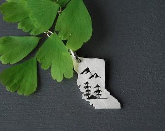 BC Pendant, British Columbia Pendant, Provnice Pendant, Nature Necklace, BC Necklace, Spruce Tree Necklace, Canadian Necklace