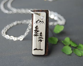 Wooden Tree Pendant, Wood and Silver Necklace, Tree Necklace, Mountian Jewelry, West Coast Jewelry, Wood Necklace, Sitka Tree, Spruce Tree