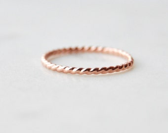 Twisted Rose Gold Stacking Rings, Stacking Rings, Rose Gold Stacking Rings, Twisted Rings, Small Rings, Layering Rings, Rose Gold Filled