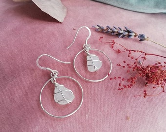 CHOOSE LOCATION // Frosted White Scottish sea glass earrings / Recycled Sterling Silver / Scotland jewellery / Rois Scottish Sea Glass