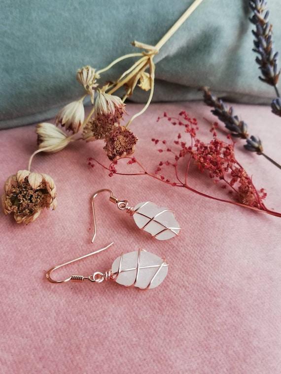 Handmade Gold Earrings Handmade Jewellery SOUTH QUEENSFERRY White Seaglass Drop Stud Earrings Bespoke Scottish Seaglass