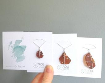 CHOOSE SIZE // Scottish Sea Glass Necklace // Handmade Sterling Silver necklace / Scotland Jewellery Necklace / Rois Scottish Sea Glass
