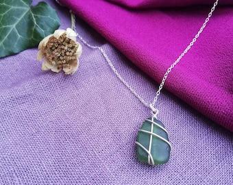 CHOOSE LOCATION // Dark Olive Green Silver Necklace  / Rois Scottish Sea Glass