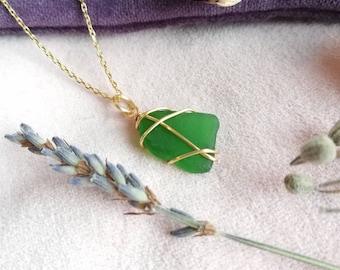 CHOOSE LOCATION // Bright Green Gold Necklace / Rois Scottish Sea Glass