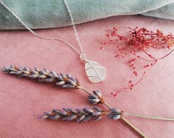 CHOOSE LOCATION // Small white Scottish Sea Glass / Sterling Silver Chain / Handmade silver necklace / Scotland Jewellery  / Rois Sea Glass