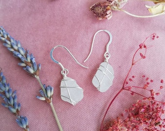 CHOOSE LOCATION // Frosted white sea glass earrings /Recycled Sterling Silver earrings / Scotland / Rois Scottish Sea Glass