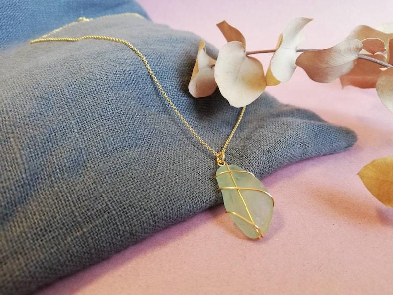 ISLE OF HARRIS  Pale Blue Gold Necklace  Rois Scottish Sea Glass