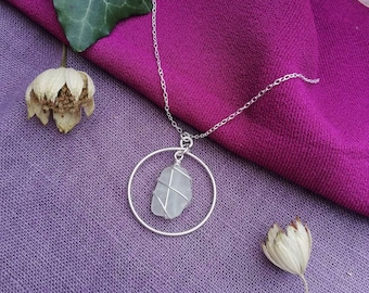 CHOOSE LOCATION // Frosted White Silver Hoop Necklace / Rois Scottish Sea Glass