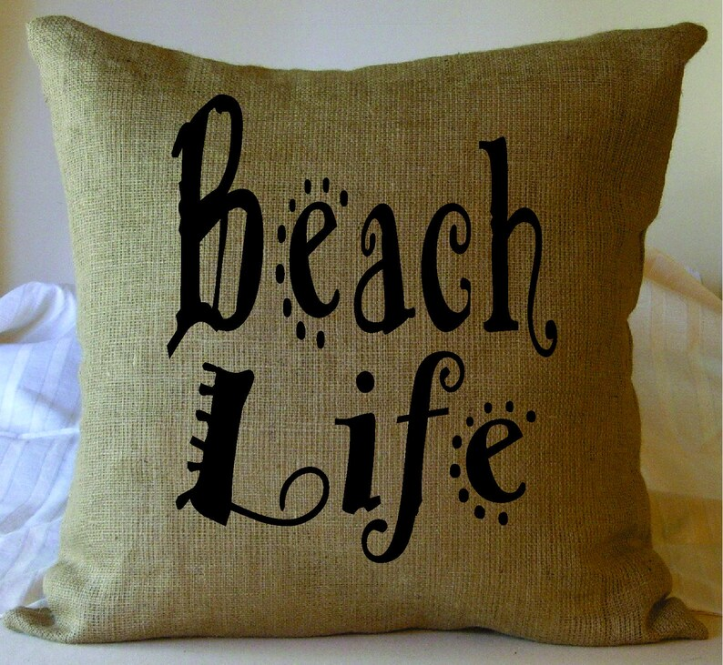 Beach house pillow Beach Life Faux Burlap Throw Pillow Beach decor