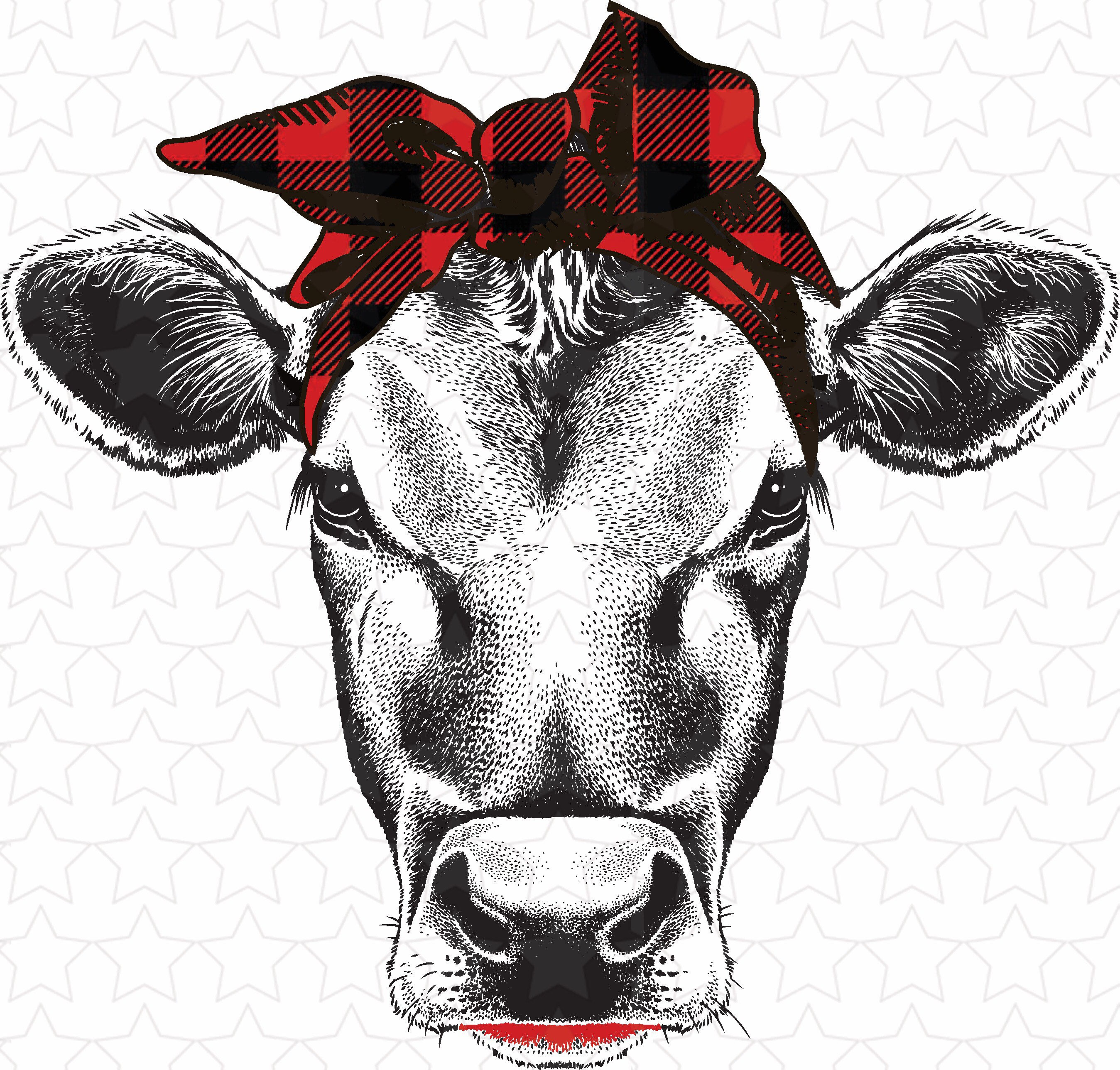 Vintage Scarf Styles -1920s to 1960s Buffalo Plaid Cow, Scarf Sublimation Transfers, Cow Transfers $2.75 AT vintagedancer.com