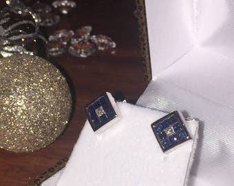Sapphire and Diamond Square Stud Earrings in 14K White Gold