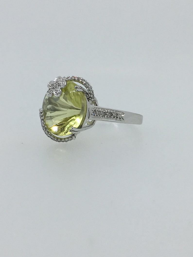 52bb6789e Lemon Quartz Oro Verde & Diamond Cocktail Ring in 18K | Etsy