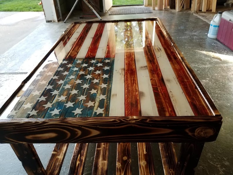 American flag coffee table Faded redwhiteblue
