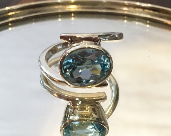 Stunning Blue Topaz + Sterling Silver Ring  | Size 7