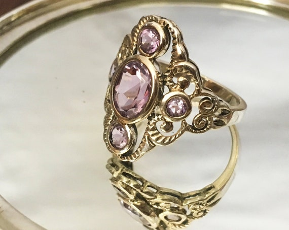 Stunning Sterling Silver Victorian Amethyst Ring | Size 7.75