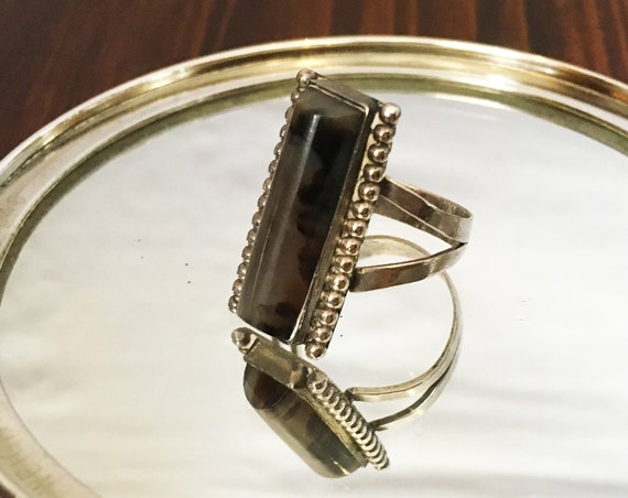 Bohemian Smokey Quartz + Sterling Silver Ring | Size 7.25