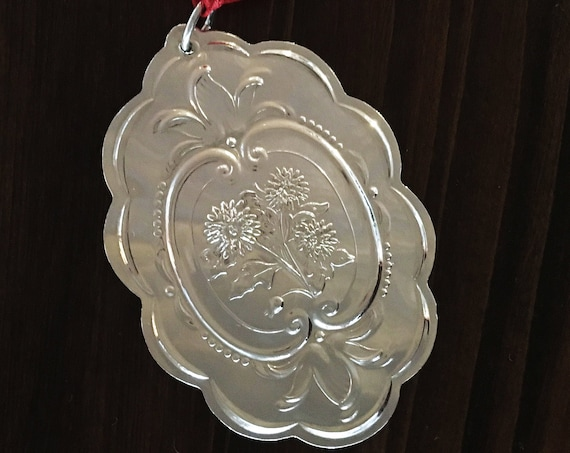 Sterling Silver Chrysanthemum Medallion Ornament by Towle Silversmiths (1991)