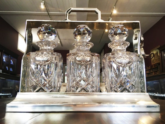 Silver Plated Tantalus with Crystal Decanters