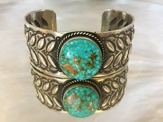 Turquoise & Sterling Silver Cuff Bracelet by Herman Smith