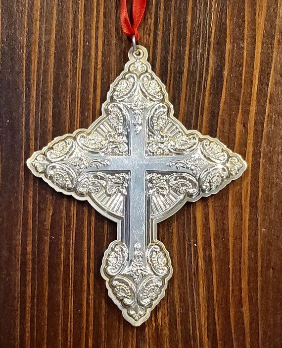 2004 Grande Baroque by Wallace Sterling Silver Cross Ornament