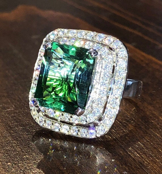 Sterling Green Ametrine and White Sapphire Ring