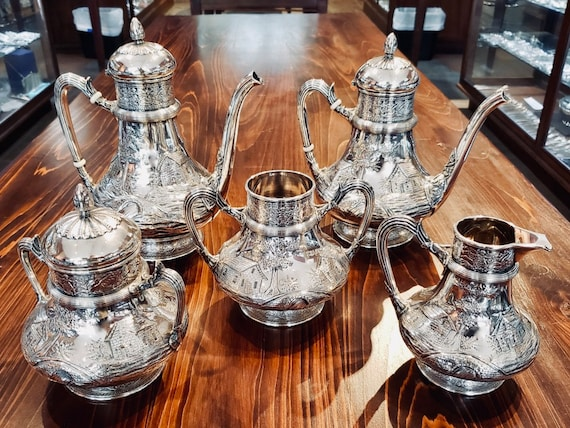 Gorham Sterling 5 piece Scenery Tea Set