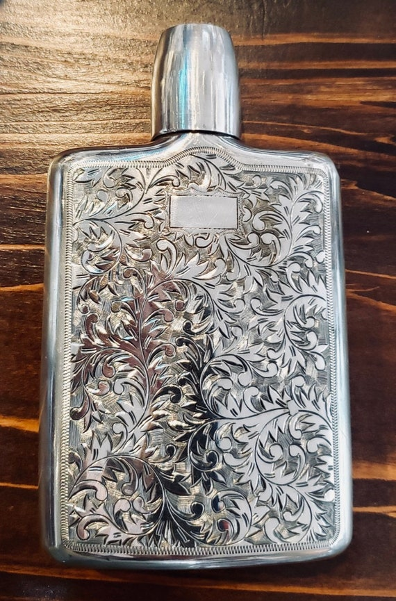 Sterling Engraved and Hammered Flask