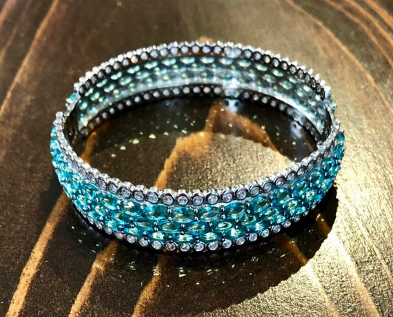 Sterling Lab Created Aquamarine & CZ Bracelet