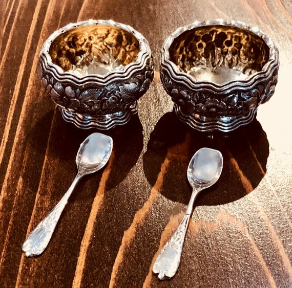 Tiffany Sterling Repousse Salt Cellar Set