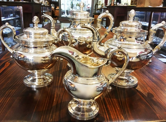 Antique Coin Silver Four Piece Tea Set by Garret Eoff