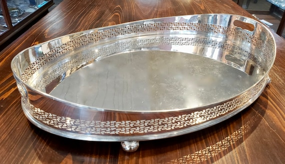 J.B. Chatterley & Sons, LTD Silver on Copper Footed Gallery Tray