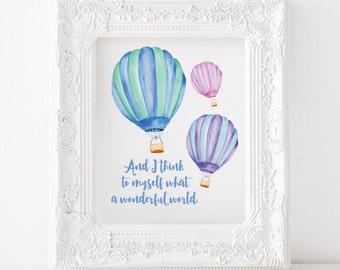 Printable Nursery Art Hot Air Balloon Art Hot Air Balloon Etsy