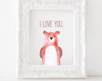 Bear Printable Bear Print, Bear nursery print, Bear nursery decor, Bear nursery printable, I love you bear print, woodland animal printable