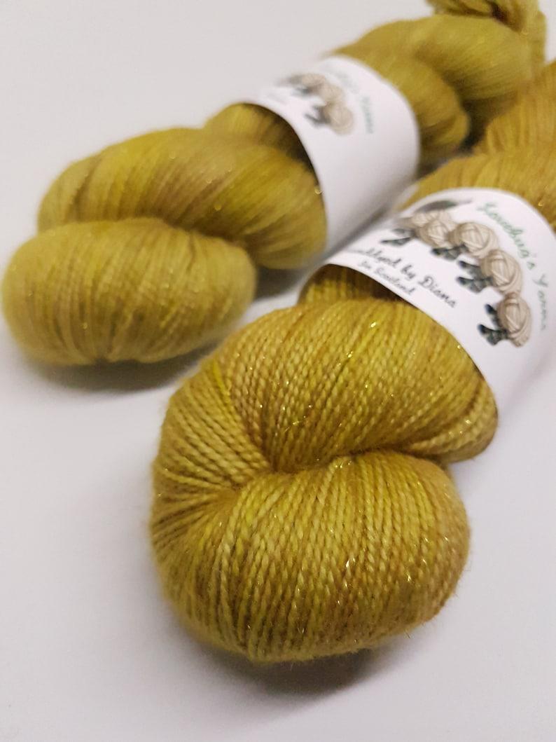 Nylon Superwash Merino Honeycomb Gold Sparkle Sock 75205 Gold Stellina