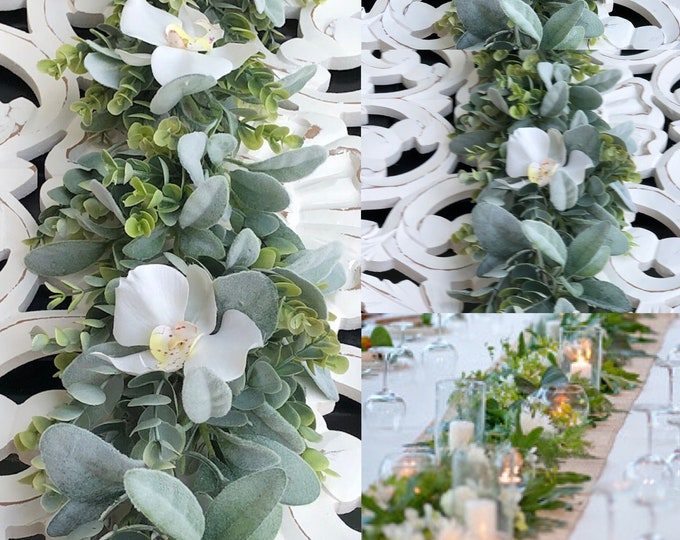Orchid wedding centerpiece/ Eucalyptus and flowers Garland/  Greenery Backdrop/ Wedding Table Centerpiece,Wedding Garland, Table Runner