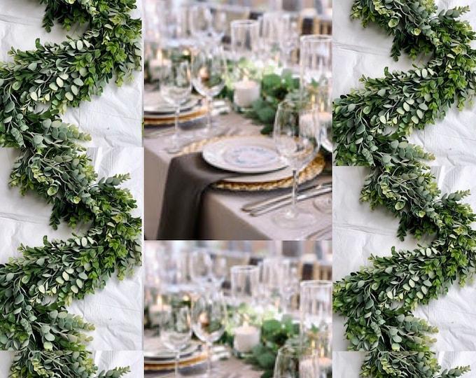 Eucalyptus & Boxwood Garland , Wedding backdrop, Wedding Decor, Greenery Centerpiece , Table Runner , Silver Dollar Eucalyptus