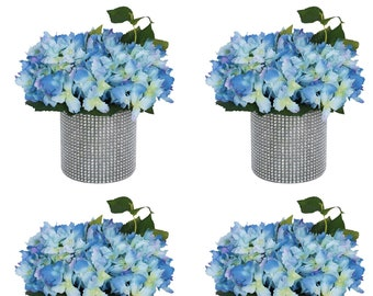 Blue Hydrangea in Vase Artificial blue Hydrangea flowers  Blue party centerpieces Blue Floral Arrangements Hydrangeas Centerpiece in vase