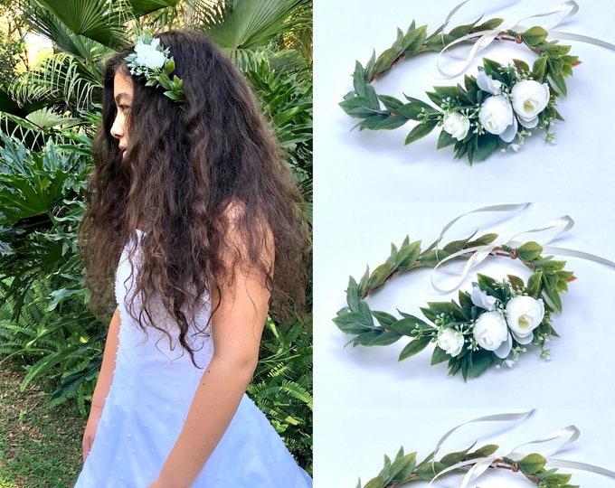 Greenery flower crown for wedding ,Bridesmaids flower crowns, Baby breath crown,White flower crown ,White flower headpiece,